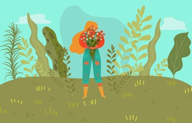 Donna felice della primavera con i fiori, ragazza che gode della bella estate, vita attiva, illustrazione di stile. natura colorata pianta verde, ragazza che tiene grande mazzo di fiori.