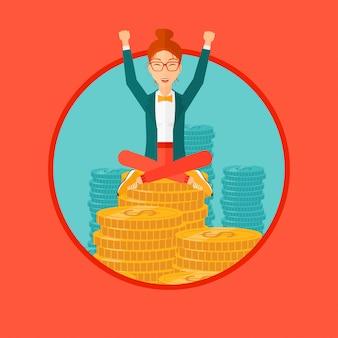 Donna felice di affari che si siede sulle monete.