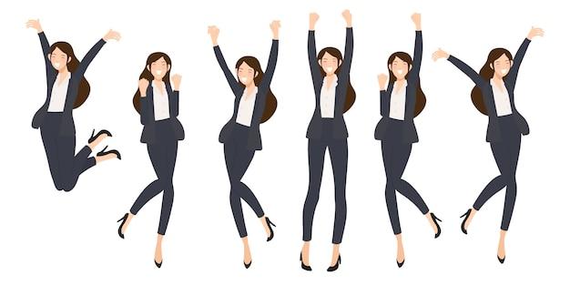 Donna felice di affari di successo su fondo bianco isolato