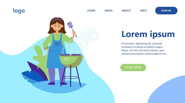 Donna felice grigliare carne barbecue