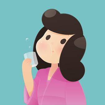 Donna felice in buona salute che risciacqua e che fa i gargarismi mentre usando il colluttorio da un vetro. durante la routine quotidiana di igiene orale. concetto, vettore ed illustrazione di salute dentale