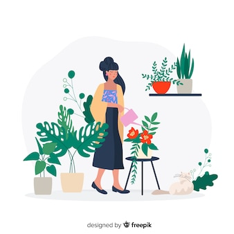 Donna giapponese che si prende cura delle piante, lavoro del giardiniere