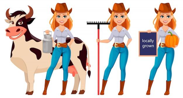 Donna giovane agricoltore in cappello da cowboy