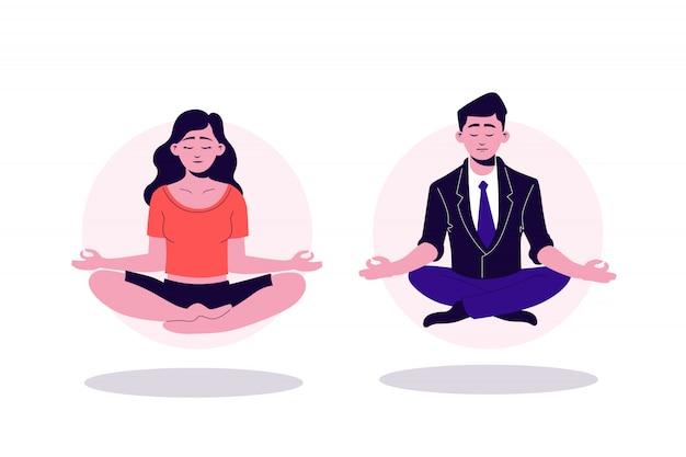 Donna graziosa degli yogi del fumetto ed uomo di affari che si siedono nella posizione di loto con gli occhi chiusi