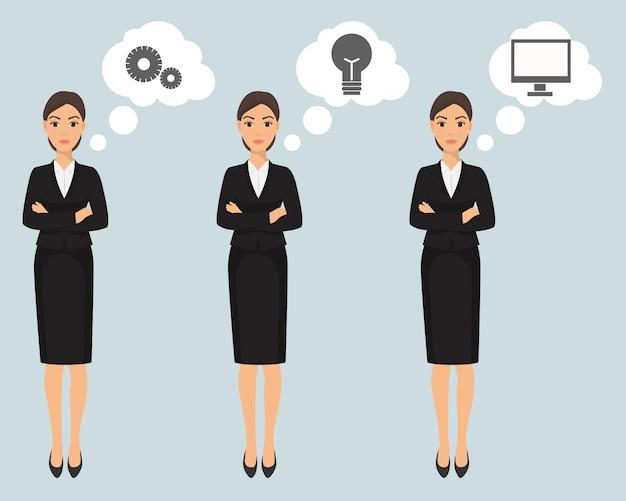 Donna graziosa elegante di affari nell'illustrazione dell'insegna dei vestiti convenzionali. armadio basso, codice di abbigliamento aziendale femminile.