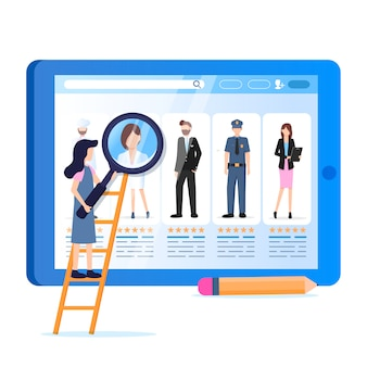 Donna hold magnifier vari occupazione avatar