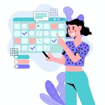 Donna illustrata che prenota un appuntamento sul calendario