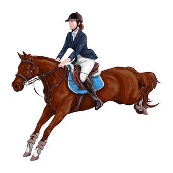 Donna, illustrazione di vettore dei cavalli da equitazione della ragazza, isolata.