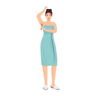 Donna in asciugamano che rade il carattere anonimo di vettore di colore piatto delle ascelle.