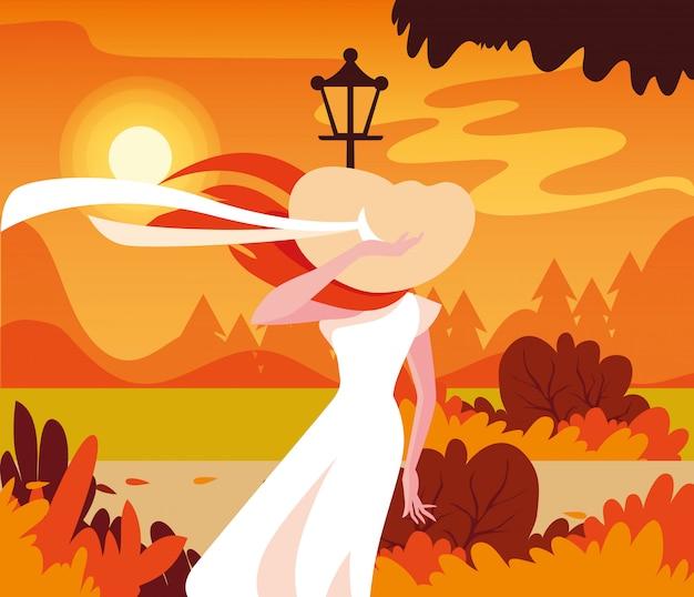 Donna in autunno disegno vettoriale