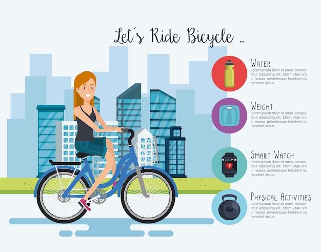 Donna in bicicletta con icone di stile di vita sano
