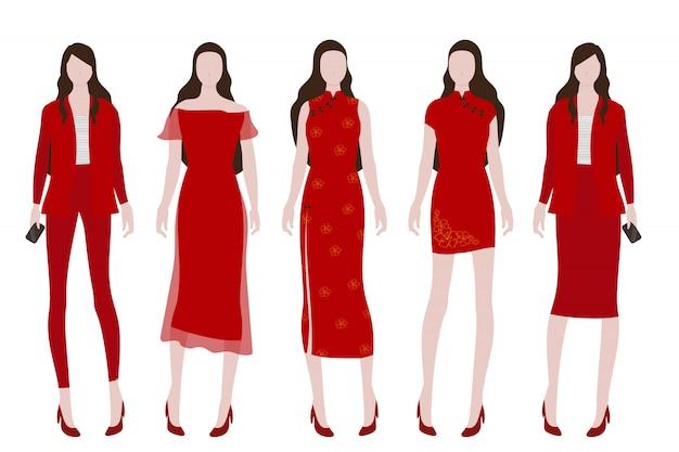Donna in costume rosso per la collezione cinese del nuovo anno