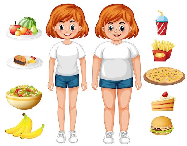 Donna in forma e sovrappeso con il cibo