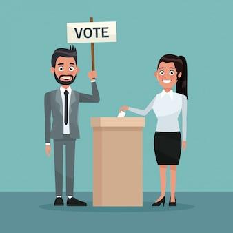 Donna in gonna voto in urna per candidato e uomo barbuto in abito formale con poster