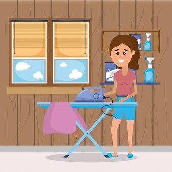 Donna in lavanderia