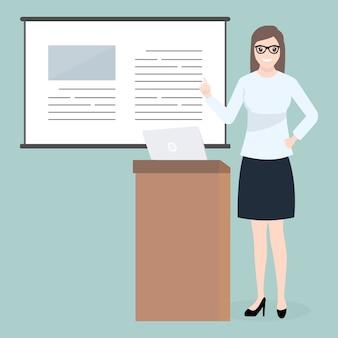 Donna in piedi e presentazione