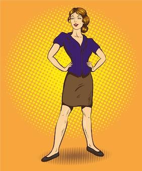Donna in piedi in posizione fiduciosa