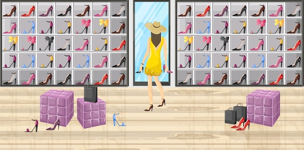Donna in un'illustrazione piana di stile del deposito del boutique delle scarpe