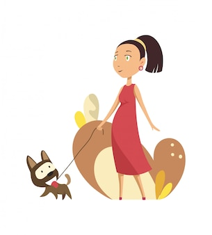 Donna incinta che cammina con il cane