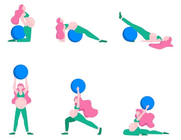 Donna incinta che fa insieme di forma fisica. esercizi con fit ball.