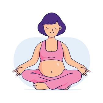 Donna incinta che fa yoga, le donne incinte stanno facendo rilassamento