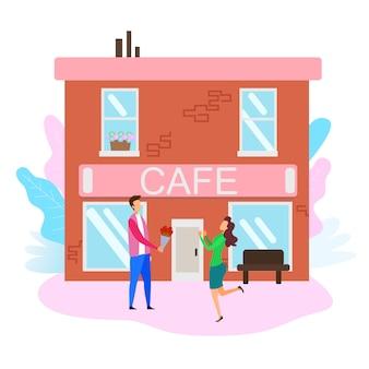Donna incontro uomo con bouquet street outside cafe