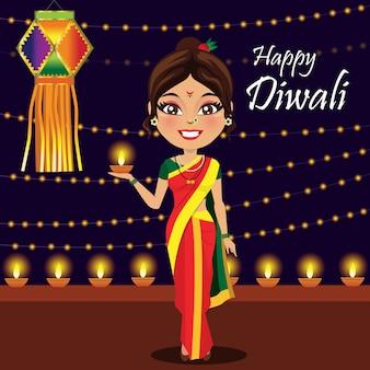 Donna indiana che celebra diwali
