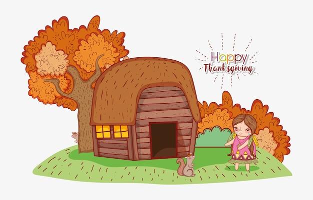 Donna indigena con casa e alberi autunnali