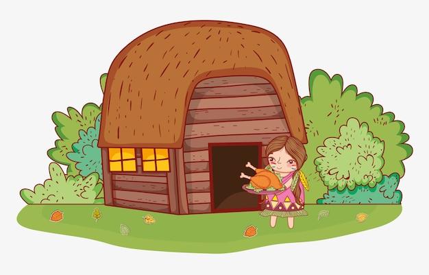 Donna indigena con cibo e casa di tacchino