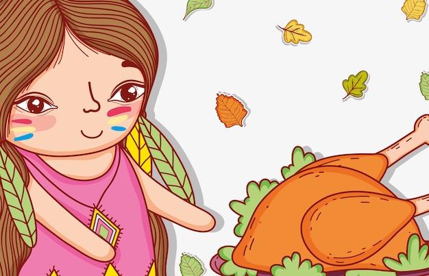 Donna indigena con cibo e foglie di tacchino
