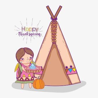 Donna indigena con torta e tenda da campeggio