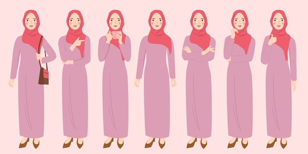 Donna indossa set di caratteri hijab