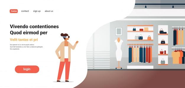 Donna indossare occhiali digitali realtà virtuale negozio di abbigliamento vr visione auricolare concetto di innovazione tailleur abito elegante boutique