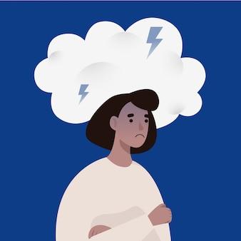 Donna infelice che sta sotto la nuvola tempestosa. emozioni negative e illustrazione di concetto di ansia.