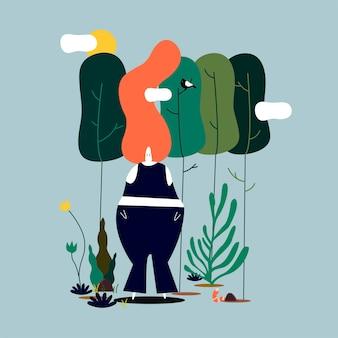 Donna isolata che si leva in piedi nell'illustrazione della foresta