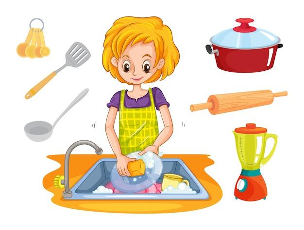 Donna, lavaggio, piatti, lavandino, illustrazione