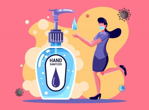 Donna lavarsi le mani con disinfettante per le mani per evitare coronavirus