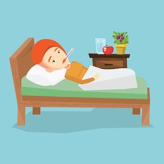 Donna malata con il termometro che si situa a letto.
