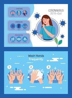 Donna malata con infografica covid19