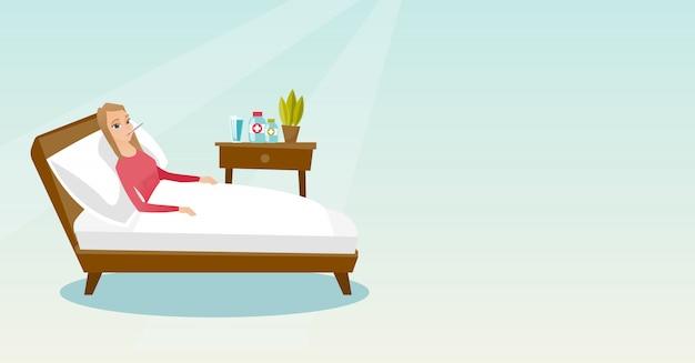 Donna malata con termometro sdraiato nel letto.
