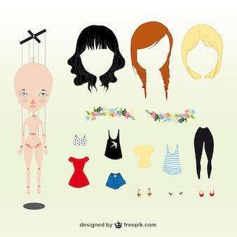 Donna marionette con accessori
