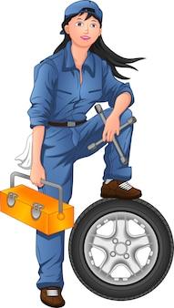 Donna meccanico in posa con pneumatici e cassetta degli attrezzi