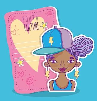 Donna millenial della cultura della gioventù con progettazione grafica dell'illustrazione di vettore della nota di carta fresca in bianco