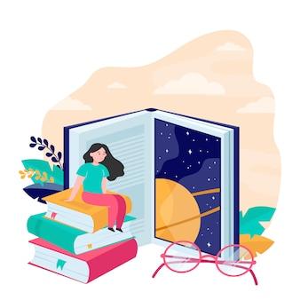 Donna minuscola che si siede sull'illustrazione piana di vettore del libro enorme