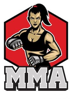 Donna mma fighter posa mascotte