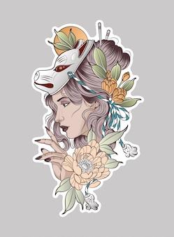 Donna molto bella in una maschera di volpe rossa