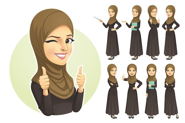Donna musulmana con set di caratteri hijab
