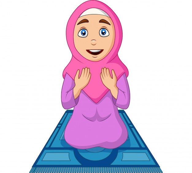 Donna musulmana del fumetto che prega sul tappeto di preghiera