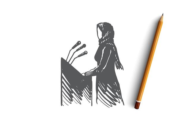 Donna musulmana disegnata a mano sullo schizzo del concetto di presentazione. illustrazione vettoriale isolato