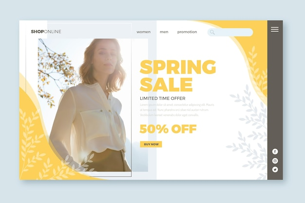 Donna nel modello web della pagina di atterraggio di vendita della camicia